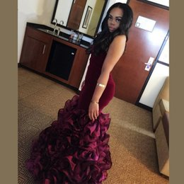 Barato Vestidos De Baile Sweetheart Venda-Borgonha Mermaid Prom Dresses Sexy Sweetheart Longo Vestidos de noite formal Custom Made Free Shipping 2017 Hot Sale