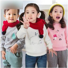 Barato Bebê Jumper-Baby boy boys sweatshirts Infants velvet cartoon animal pullover Toddler kids manga comprida engrossar jumpers quentes Baby cute clothes C2317