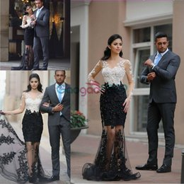 Black White Petite Evening Dress Canada - Black and White Mermaid Evening Formal Dresses with Long Sleeve 2017 Lace Beaded See Through Trumpet Middle East Arabic Evening Gowns