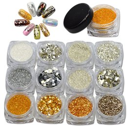 Paillettes À Ongles En Or Pas Cher-Vente en gros - 1 bouteille 1g Nail Glitter New 3d Décorations Fancy Shining Powder / Slice / Sequin / Rhinestone Nail Art Gold Silver Tips #GS
