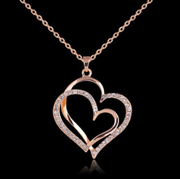 double heart love pendant NZ - Rose Gold Plated Love Heart Crystal Double Heart Necklace Women Girls Rhinestone Pendant Neckalce Bridal Wedding Jewelry Lover Gift
