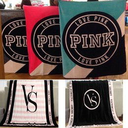 Wholesale New Pink VS Blanket Manta Fleece Blanket Throws on Sofa Bed Plane Travel Plaids Flannel Blanket Secret Blankets for Wemen Baby