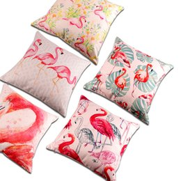 $enCountryForm.capitalKeyWord NZ - Plant Flamingo Digital Printing Decoration Throw Pillow Case Thickened Cotton and Linen Cushion Cover Sofa Cushions 18x18 (Diamond)