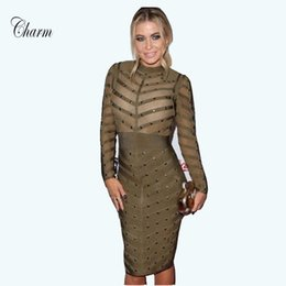 5d118e95ade66 Wholesale- New Winter Bodycon Celebrity Party Dress Sexy Black Grey Apricot  Green Red Mesh Long Sleeve Beaded Bandage Dresses Women 2017