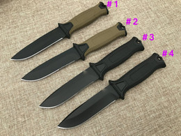 Barato Casaco De Ponto-8Pcs GB G1500 Survival Straight knife 12C27 Black Titanium Coated Drop Point Blade Outdoor Camping Caminhada Caça Facas táticas com Kydex