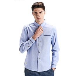 Barato Homens Moda Escritório Slim Fit-New Arrival Men Shirt Moda Casual Cotton Solid Dress Shirts Homens Negócios Camisas masculinas Slim Fit Formal Office Shirt