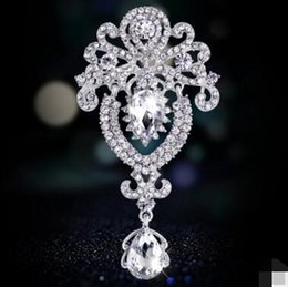 dangling rhinestone brooches Australia - Vintage Crown Pin Crystal Dangle Brooch High-end Rhinestone Brooch Beautiful Pins For Women New 2016 Jewelry Accessories Bridal Wedding 20pc