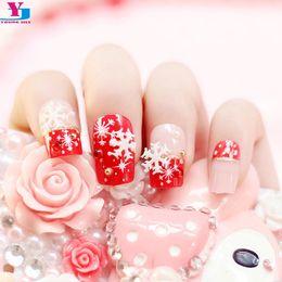 6 Photos Online Shopping Beauty Fake Nails With Christmas Snow Designs D Strass Unha Acrylic Uv Gel Nail