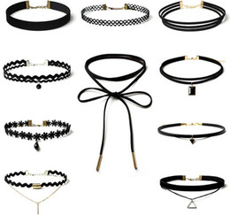 combination collar 2019 - Europe style Gothic simple accessories poirot fake collar creative choker lace necklace Combination set 1 set=10 piece n
