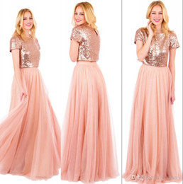 Barato Meninas Vestidos Tamanho 14 Barato-Sparkly Rose Gold Sequined Long Bridesmaids Dresses 2017 Plus Size A Line Duas peças Blush Pink Chiffon Cheap Girls simples Maid of Honors