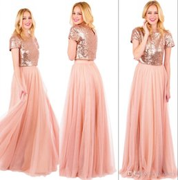 Robe Or Rose Pas Cher-Sparkly Rose Gold Sequined Long Robes de demoiselles d'honneur 2017 Plus Size A Line Deux pièces Blush Pink Chiffon Cheap Simple Girls Maid of Honors