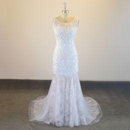 67f53289118 Real Sample 2017 New Arabic Mermaid Wedding Dresses Illusion Scoop Neck  Lace Appliques Formal Bridal Gowns Vestido de noiva