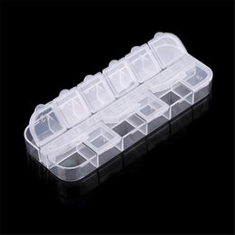 wholesale nail art products 2019 - Wholesale- 12 Grid Organizer Nail Art Product Plastic Storage Case Rhinestones Dired Flower Earring Jewelry Container TF