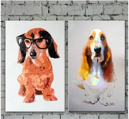 Dog Picture Frames Canada - Handmade Dog Picture Prints Art on Canvas Handpainted Oil Painting by Skilled Artist Holiday Gifts No Frame
