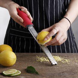 Kitchen Fruit Canada - Stainless Steel Lemon Zester Microplane Grater Metal Sharp Garlic Ginger Cheese Grater Multifunctional Fruit Vegetable Tools Kitchen Gadgets
