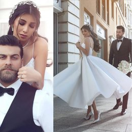 Discount beautiful full length dresses - 2017 Beautiful A line Full Length Simple Wedding Dresses Spaghetti Straps Cheap Beach Bridal Gowns Custom Made Plus Size