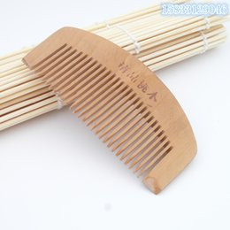 Discount red black curly hair - The trumpet care peach wooden comb Anti-static portable make up a small on gifts wholesale wooden comb