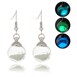 $enCountryForm.capitalKeyWord NZ - XS Dandelion Glass Ball Noctilucent Earrings Fluorescence Luminous Ear Hook for Woman Girl Gift Wholesale