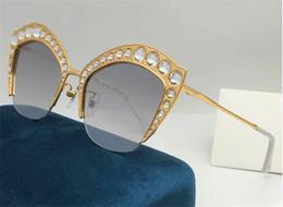 titanium eyewear 2019 - New fashion designer sunglasses half frame metal cat eye frame with luxury sparkling diamonds top quality 0114 popular w