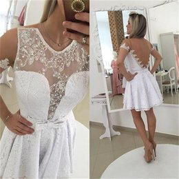 Gold Lace Peplum Dress Australia - White Applique Pearls Short Homecoming Dresses Short Sleeveless Sheer Peplum Bow Lace Party Prom Dresses For Gown