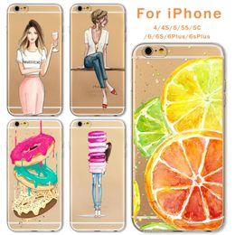 $enCountryForm.capitalKeyWord Canada - Case For Apple iPhone 6 6s Plus 6Plus 4 4S 5 5S SE 5C Soft Silicon TPU Transparent Fruit Grils Macaron Dessert Phone Capa Cases