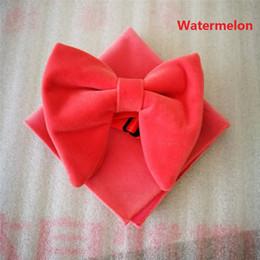 White Bowties Australia - Ikepeibao Fashion Men's Watermelon Velvet Bowties Sets Matching hanky Unique Tuxedo Bow Tie Hanky Accessaries
