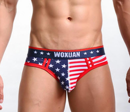 Discount organic underwear men Wholesale WOXUAN Mens Briefs.USA Flag Mans Underpants,Man Underwear,Free Shipping!New Arriving!