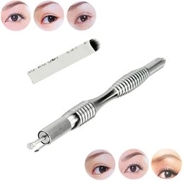 Make Permanent Tattoo Pen Canada - Wholesale-1PC New Fashion U Shape Microblading Eyebrow Tattoo Permanent Makeup Manual Blade 18 Needles+Pen Make Up Beauty Tools Nov 24