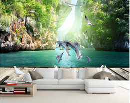 Wood Kids Kitchen NZ - 3d room wallpaper custom photo mural Dolphin playing water wood landscape decor background painting 3d wall murals wall paper for walls 3 d