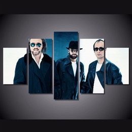 $enCountryForm.capitalKeyWord NZ - 5 Pcs Set Framed HD Printed Bee Gees Band Music Team Wall Art Print Poster Pictures Modern Canvas Abstract Oil Painting Oil Painting