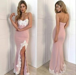 Vestido Largo Sin Tirantes Baratos-2017 Front Split Prom Dresses Real Image Long Mermaid Party Celebrity Vestidos sin tirantes de satén de encaje Vestidos de festa Red Carpet Wear