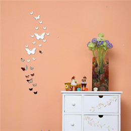 crystal butterfly wall NZ - Butterfly Mirror Stickers 3D Stereo Acrylic Crystal Mirrors Surface Wall Sticker Home Decoration DIY Paste Living Room Decal 7 5nr F R