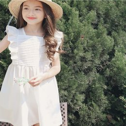 white lace short gown styles Australia - Summer Girl Ruffle Lace Short Sleeve Dress For Age 3-8 Baby Kids Princess Wedding Prom Party White Blue Elegant Dress Toddler Kids Clothes