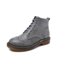 $enCountryForm.capitalKeyWord Canada - Wholesale Plue size 34-43 British Style Short Boots Classical women Lace Up Ankle Martin Boots Ladies Brand Flat Shoes