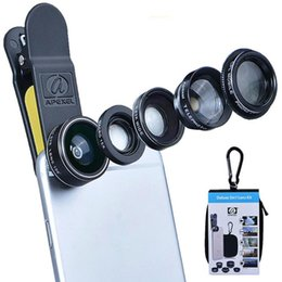 Discount clip wide lens - Wholesale APL-DG5 5in 1 Kit Fish Eye Wide Angle Macro Telephoto 2X CPL Clip Lens for Apple iPhone 7 6S Smasung HTC