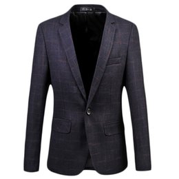 Vestes Pourpre Pour Hommes Pas Cher-Vente en gros - 2017 New Arrival Dark Purple Plaid Business Casual Men Blazers Single-button Formal Populaire Desgin Men Dress Suit Jackets