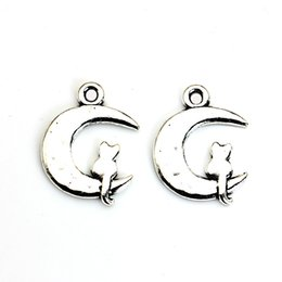 online shopping Tibetan Silver Plated Moon Cat Charms Pendants for Bracelet Necklace Jewelry Making DIY Handmade Craft x18mm B205