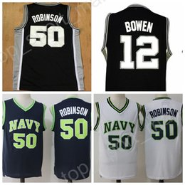 Barato David-Atacado 50 David Robinson Jersey Man College Academia Naval Midshipmen Admiral Soul 12 Bruce Bowen Basquete Jerseys Stitched Sports