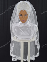 $enCountryForm.capitalKeyWord NZ - 2017 Muslim Wedding Veils with Pearls and Lace Appliques Real Model Pictures Ready to Wear Bridal Hijab Elbow Length Hazir Gelin Turbanlari