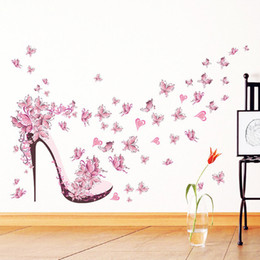 Large heart stickers online shopping - Fashion High Heel Shoes Flying Butterflies Heart Flower Wall Sticker PVC Decals Home Decor Girl s Room Decor Poster