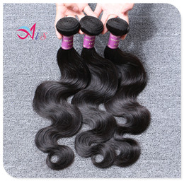 Wholesale AiS A Brazilian Hair Body Wave Hair Weaves Bundles Virgin Human Hair Weave Double Weft Bundles Color B Products Remy Extensions