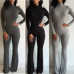 Barato Pernas Longas Sexy Moda-Venda por atacado- Jokesuits sexy do clube 2016 Hot Fashion Women Wide Leg Club Jumpsuit Sexy Black Grey Long Sleeve Turtleneck Bodycon Rompers