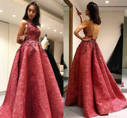 Wholesale New Cheap Sexy Prom Dresses Jewel Neck Full Lace Appliques Ball Gown Formal Party Dress Sweep Train Open Back Pageant Formal Evening Gowns
