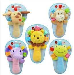 Wholesale Hot infant animal hand bell baby Rattles plush stuffed toy children mobiles sounding educational handbell choice