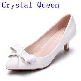 $enCountryForm.capitalKeyWord Australia - Crystal Queen Spring Summer Women Pumps Sweet Bowknot High-heeled Shoes white High Heel Shoes Pointed Stiletto Elegant 5cm