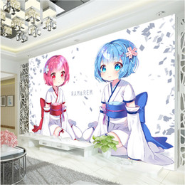 Japanese Anime Wallpaper Rem U0026 Ram Wall Mural Custom 3D Wallpaper For Wall  Girls Bedroom LivingRoom Hotel Seishin Restaurant Cute Room Decor