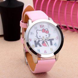 fashion watch black cat girl 2019 - Cartoon Beautiful girl Hello Kitty KT cat style Color number dial children students girl's leather quartz wrist wat