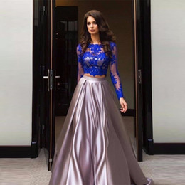 $enCountryForm.capitalKeyWord Canada - Long Sleeves Two Pieces Evening Dress Applique Formal Vestidos de Festa 2019 New Design Blue Evening Dresses Open Back