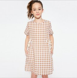 Barato Vestidos De Bebês Adolescentes-Summer Teenager Plaid Dresses Junior Fashion Bow Dress Big Babies Casual Dress 2017 Vestuário para criança