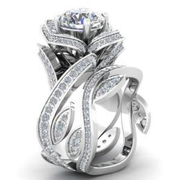 Стерлингового серебра 925 цветок лист круглый вырезать ясно CZ Алмаз 4.50 CT обручальное кольцо